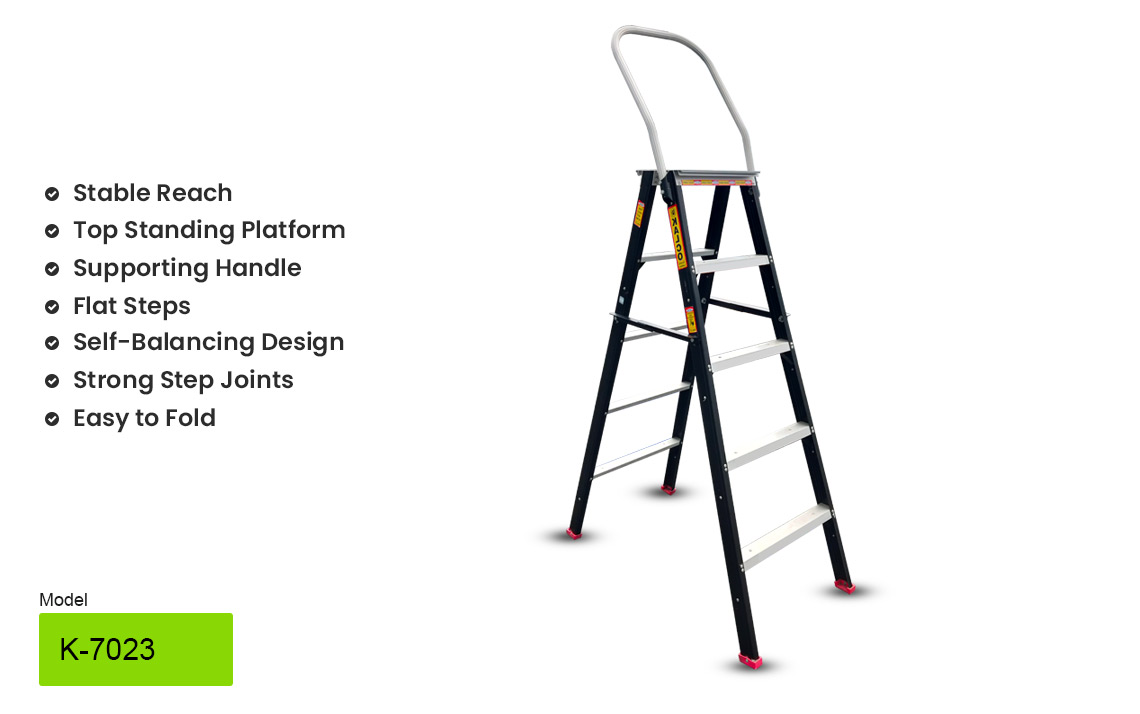 Kalco Stool Type Aluminium Ladder with top handle support dl-k-7023