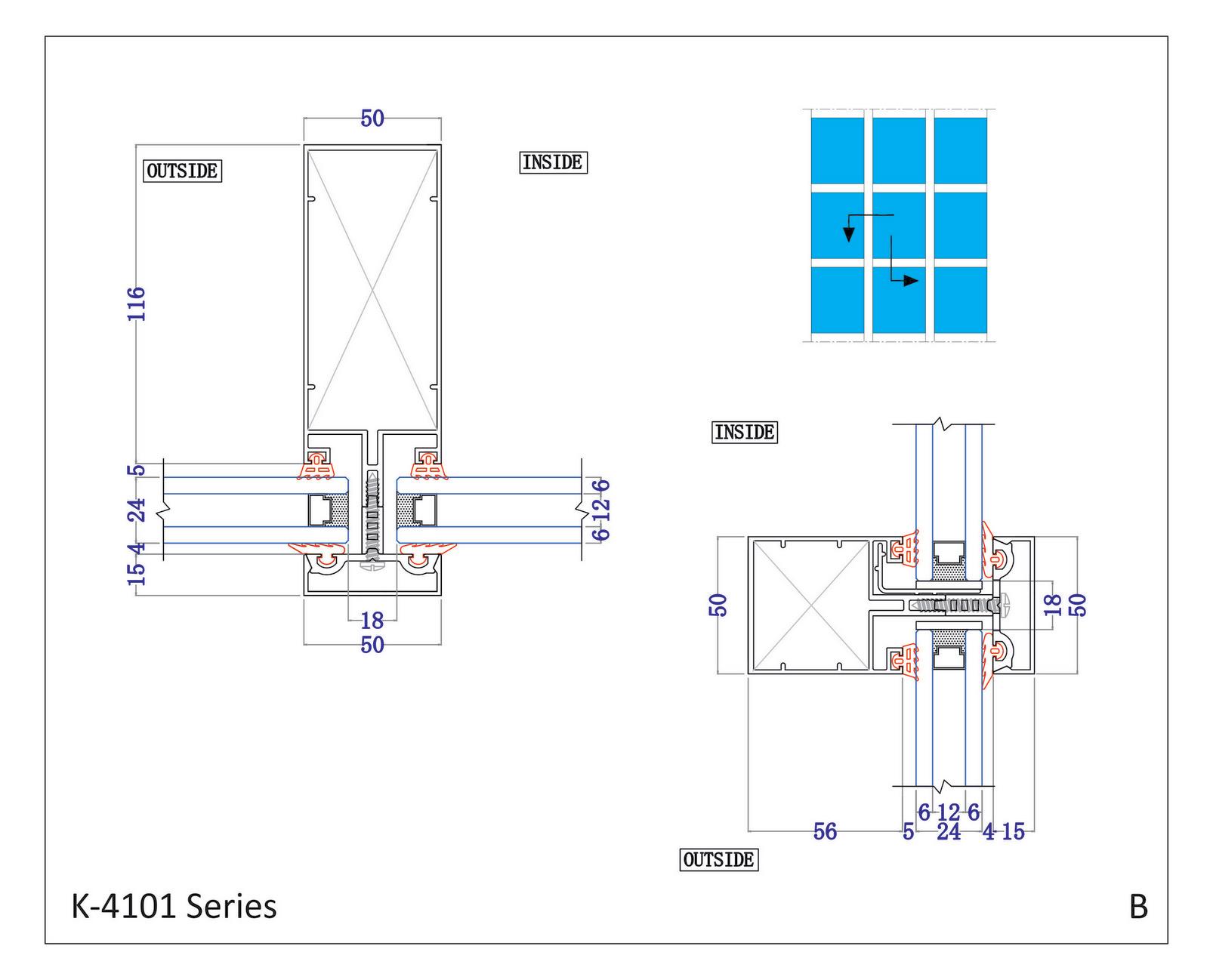 Kalco Alu Systems K 4101 B Semi Unitized Curtain Wall Double Glazing Diagram
